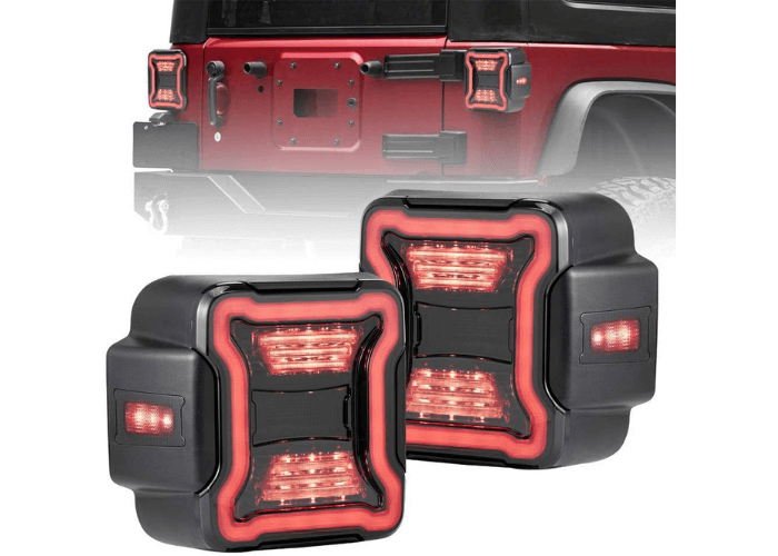 FieryRed Jeep Wrangler LED Tail Lights